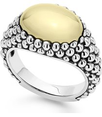 lagos high bar caviar oval ring, size 6 in silver at nordstrom