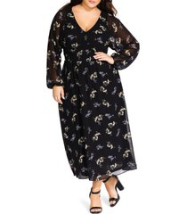 plus size women's city chic gentle floral long sleeve dress, size x-small - black