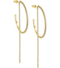 swarovski extra large gold-tone crystal chain & hoop convertible earrings 4-1/4""
