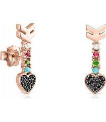aretes san valentín flecha de plata vermeil rosa y gemas