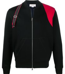 alexander mcqueen strap-detail two-tone bomber jacket - black
