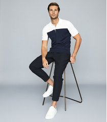 reiss alessano - press stud colour block polo shirt in navy, mens, size xxl
