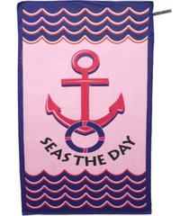 premium beach towel super absorbent soft lightweight compact eco-friendly anti-bacterial travel accessory seas the day pink by minxny bedding