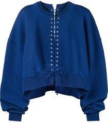 unravel project lace-up oversized sweatshirt - blue