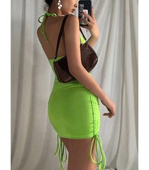halter sin tirantes con cordón sin espalda verde sin tirantes vestido