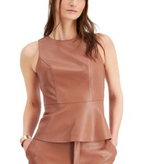 bar iii faux-leather peplum top, created for macy's