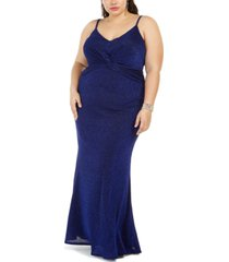 city studios trendy plus size twist-center gown