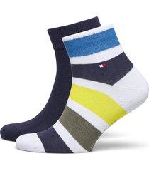 th men quarter 2p colorblock stripe ankelstrumpor korta strumpor blå tommy hilfiger
