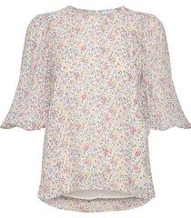printed georgette blouse lange mouwen wit ganni