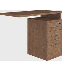 mesa auxiliar p/ escritório com 3 gavetas ative vermont artesano marrom