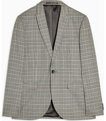 mens grey stone check skinny fit single breasted suit blazer with peak lapels