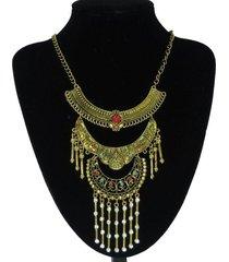 collar etnico tiras dorado