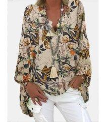 camicetta a maniche lunghe con scollo a v con stampa floreale vintage