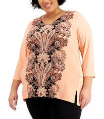 jm collection plus size printed crepe top, created for macy's