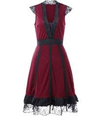 cap sleeve deep v neck retro dress