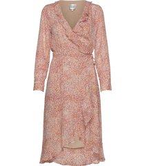 floral ls wrap dress jurk knielengte roze second female