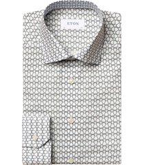 men's eton contemporary fit print dress shirt, size 16 - blue