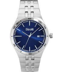 orologio solo tempo con cassa e cinturino in acciaio, quadrante blu per uomo