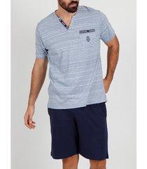 pyjama's / nachthemden admas for men pyjama kort t-shirt light stripes blauw admas