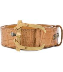 gianfranco ferré pre-owned 2000's crocodile effect belt - light sable