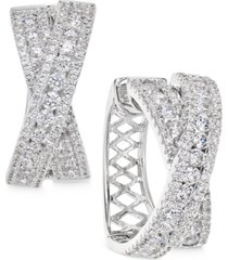 arabella swarovski zirconia crisscross hoop earrings in sterling silver, created for macy's