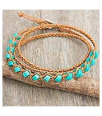 calcite and leather wrap bracelet, 'ko lipe' (thailand)