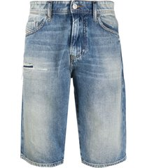 diesel washed denim bermuda shorts - blue