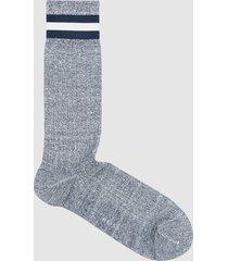reiss universe - socks with hoop detail in navy melange, mens