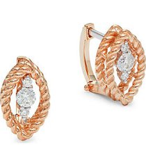 18k two-tone gold, ruby & diamond marquise earrings
