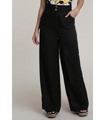 calça feminina salinas pantalona com bolsos preta