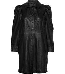 puff thin leather dress kort klänning svart mdk / munderingskompagniet