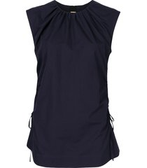 marni side tie ruched top - blue