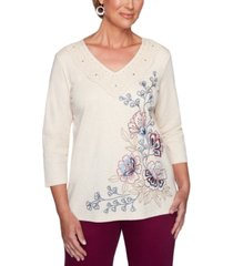alfred dunner autumn harvest floral-embroidered top