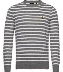 breton stripe jumper stickad tröja m. rund krage grå lyle & scott