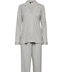 lrl hammond knit collar pj set pyjamas grå lauren ralph lauren homewear