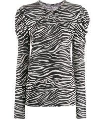 derek lam 10 crosby zebra print puff shoulder sweater - white