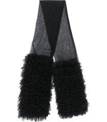 molly goddard ruffled tulle scarf - black