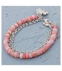 opal beaded bracelet, 'romantic clover' (peru)