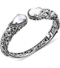 carolyn pollack mother-of-pearl hinged cuff bracelet in sterling silver