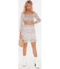 womens show must grow on floral mini skirt - white