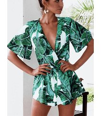 blanco tropical deep v cuello wrap diseño monos