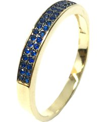 anel kumbayá meia aliança semijoia banho de ouro 18k cravaçáo de zircônia azul safira detalhe em ródio negro - tricae