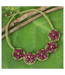 beaded flower necklace, 'pink blossoming rhyme' (thailand)