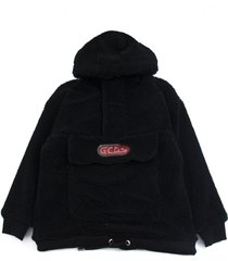gcds black virgin wool blend hoodie