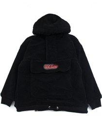gcds black virgin wool blend hoodie