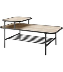 tiered metal and wood coffee table