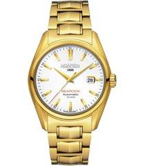 roamer men's 3 hands date 42 mm dress watch in steel case and bracelet