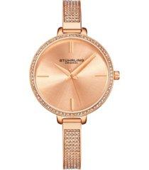 stuhrling women's rose gold mesh stainless steel bracelet watch 36mm