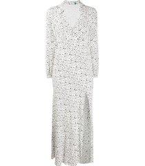 rixo ruby graphic-print dress - white