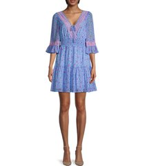 betsey johnson women's petite fleur floral flare dress - blue - size xl